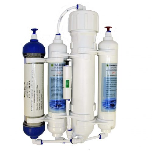 4 Stage Compact Aquarium Reverse Osmosis 50 GPD Unit with Inline DI Chamber for Tropical Fish, Marine & Discus by Finerfilters